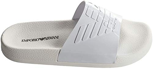 Emporio Armani Damen Badesandalen - Slipper, Badeschuhe, großes Logo, einfarbig (40 EU, weiß)