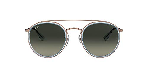 Ray-Ban RB3647N Double Bridge Round Sunglasses, Blue On Copper/Grey Gradient, 51 mm