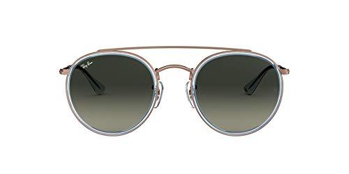 Ray-Ban 0RB3647N, Gafas de Sol Unisex Adulto, Azul (Bronze Copper/Grey Gradient), 51