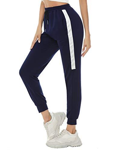 Aibrou Pantalones Deporte Mujer Pantalones Chandal Algodón Pantalón Jogger Yoga Fitnes Pantalones de Punto de Rayas, (Armada, L)