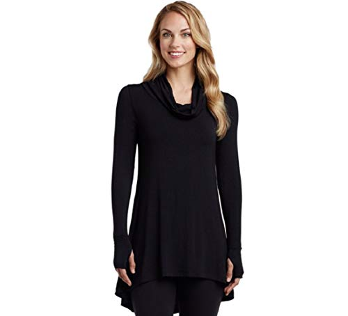 Cuddl Duds Women's Softwear with Stretch Long Sleeve Cowl Tunic, Black, Large