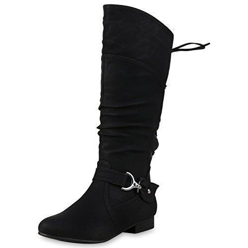 SCARPE VITA Klassische Stiefel Damen Nieten Schnallen Leder-Optik 150307 Schwarz Schnallen 37
