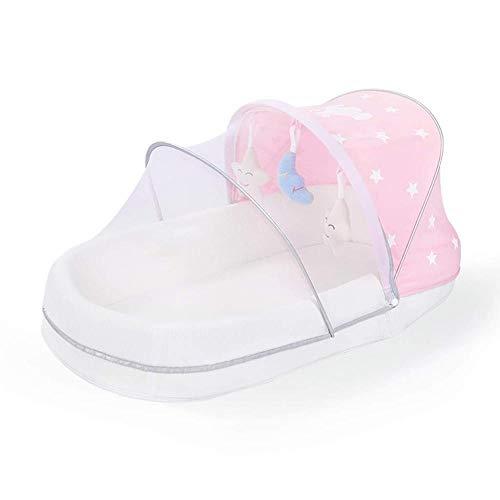 Berceau portatif berceau pliable 100% coton, berceau berceau pour nouveau-né respirant ultra-doux, parfait pour le sommeil et le voyage des bébés - Rose