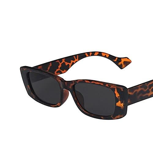 YHKF Gafas De Sol Clásicas para Mujer, Gafas Rectangulares De Moda, Montura De Plástico, Anteojos Femeninos Vintage, Uv400-Leopard_Gray
