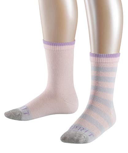 ESPRIT Kinder Socken Stripe Logo 2-Pack, 81% Baumwolle, 2 Paar, Rosa (Powder Rose 8902), Größe: 23-26