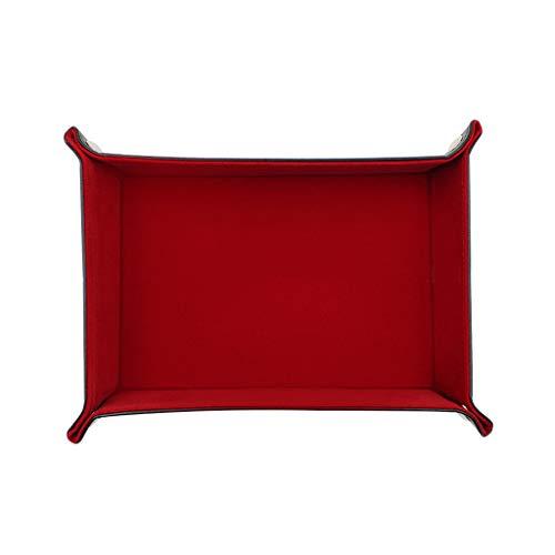ZJL220 Bandeja de valet para llaves, cuenco organizador de mesita de noche, organizador de joyas, caja de reloj de piel sintética, bandeja para cambiar monedas para guardar llaves, color rojo