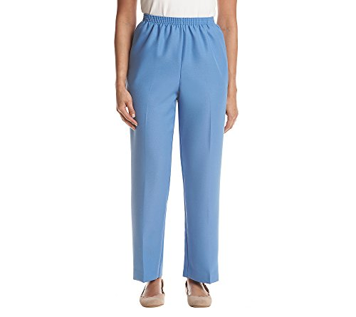 Alfred Dunner Women's 2018 Classics All-Elastic Waist Proportioned Short Poly Pant (16 Short, Hydrangea Blue)
