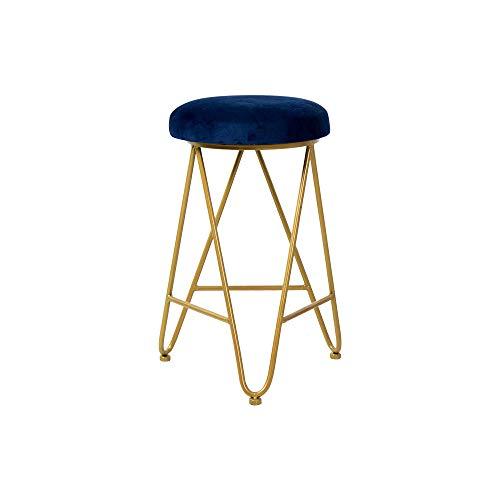 Sgabello da Bar Alto Slim Altezza 47 cm (18 Pollici), Cuscino in Velluto con Struttura in Ferro, Oro, utilizzato per ristoranti, Bar, caffè, Reception