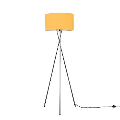 Modern Polished Chrome Metal Tripod Floor Lamp with a Mustard Cylinder Shade - Complete with a 6w LED Bulb [3000K Warm White]