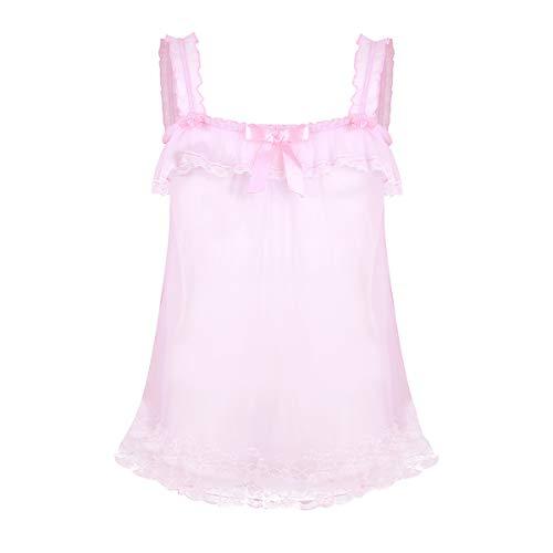 iEFiEL Herren Sissy Dessous Spitze Transparente Nachthemd Tüll Kleid Spaghetti Top Dessous Sleepwear Schlafanzug Rosa Rosa Medium