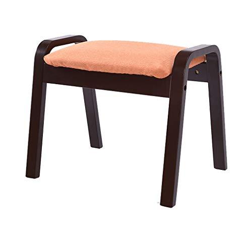 hsj LF- Taburete de sofá para el hogar de algodón y lino, taburete de nogal de tacón alto, simple y creativo para dormitorio, sala de estar, cómodo (color naranja)