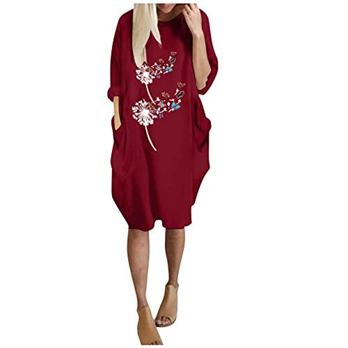 Harpily Mujer Camisa Algodón Blusa Mujer Sudadera Tops Chaqueta Suéter Jersey Mujer Otoño Invierno Talla Grande Hoodie Sudadera Suelto Sólido Manga Larga con Capucha Tejido (Rojo, XXL)