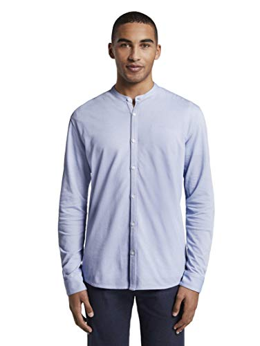 TOM TAILOR DENIM Blusen, Shirts & Hemden Strukturiertes Jersey-Hemd Light Blue Jersey Structure, XXL
