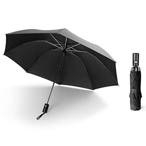 Sweet&rro17 Paraguas automático plegable automático, paraguas grande y compacto portátil de negocios, interruptor automático de secado rápido con linterna LED, para día lluvioso al aire libre (negro)