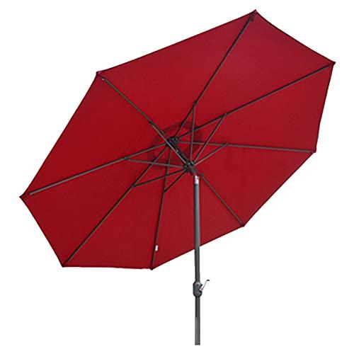 WUDAXIAN Manivela para sombrilla de Patio con 8 Varillas de Hierro y función de inclinación de manivela para sombrilla de Playa, Patio, jardín, Patio,Rojo