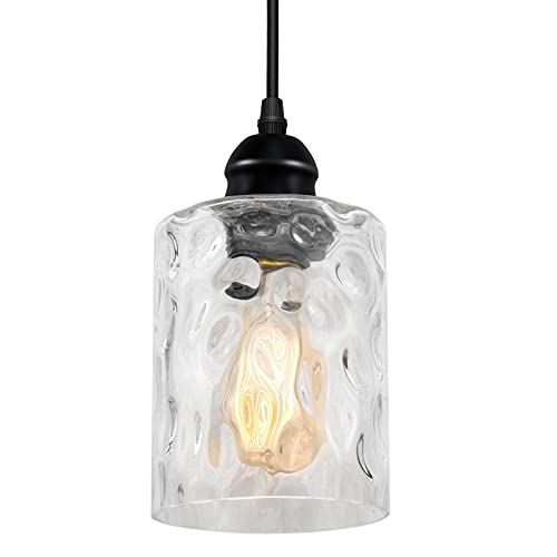 Modern Industrial Small Glass Pendant Light Fixtures, Adjustable Cord Farmhouse Pendant Lighting for Kitchen Island, Dining Table, Bedroom & Hallway, Black Ceiling Hanging Pendant Light, 1 Pack