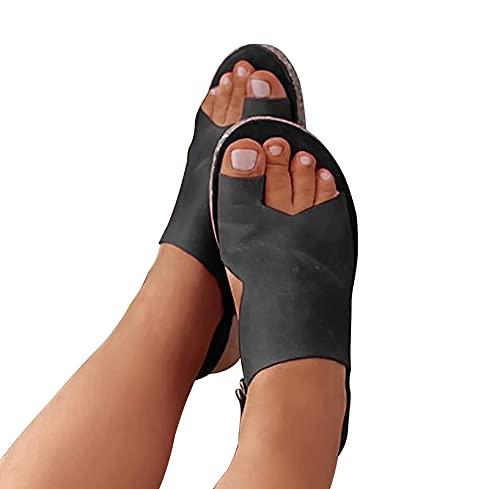 XWCG Zapatilla de Plataforma con Cuña para Mujer Sandalias Correctoras PU Zapatillas Casuales para La Playa Sandalias de Verano Elegantes,Negro,35