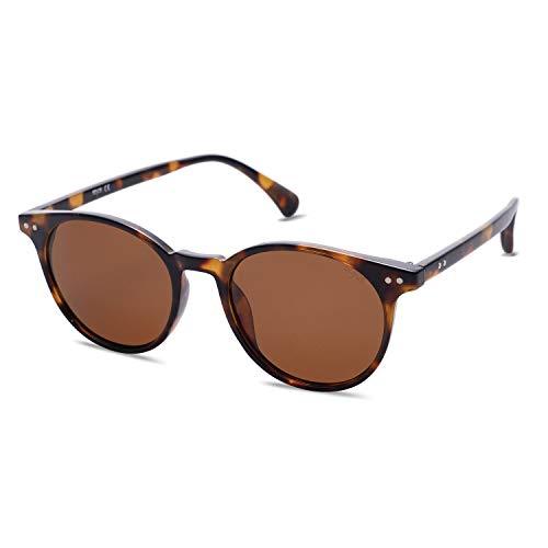 SOJOS Damen Herren Sonnenbrille Polarisiert Brille UV400 Schutz Vintage Runde Kleine für Schmales Gesicht SJ2113 mit Schildkrötenrahmen/Braune Linse