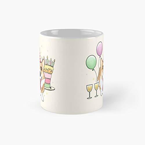 Happy Corgi – Taza clásica de cumpleaños | El mejor regalo divertidas tazas de café de 325 ml