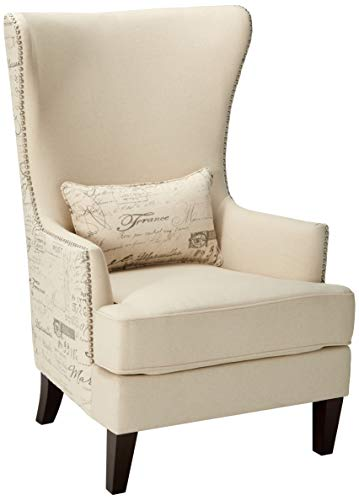 Coaster Home Furnishings Coaster Traditional Winged Accent Chair with Script Back, 33.5x30.5x48, Cream/Brown