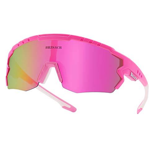 Polarisierte Sportbrille,Sonnenbrille Fahrradbrille, 3 Austauschbare Linse,UV-Schutz Polarisierte Sportsonnenbrille für Outdooraktivitäten wie Radfahren Laufen Klettern Autofahren Angeln Golf. (Pink)