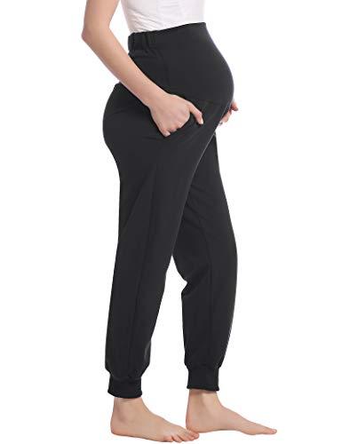 Damen Umstandshose Schwangerschaft Hosen Lang Schlafanzug/Pyjama/Yoga Hose für Schwangere Jogginghose(Schwarz,XXL)