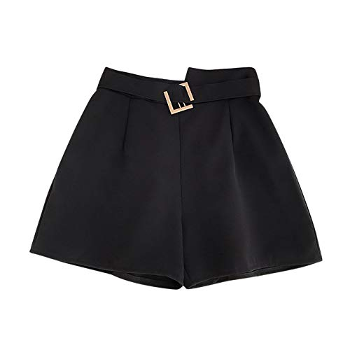 CUTUDE Womens Shorts Drawstring Elastic Ladies Summer Casual High Waist Solid Printed Chiffon Beach Leggings Large Size Loose Wide Leg Thin Sports Pants with Pockets (C-Black, L)