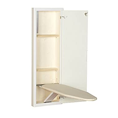 Household Essentials 18100-1 StowAway In-Wall Ironing Board Cabinet with Built In Ironing Board | White | Cut into Wall to Install