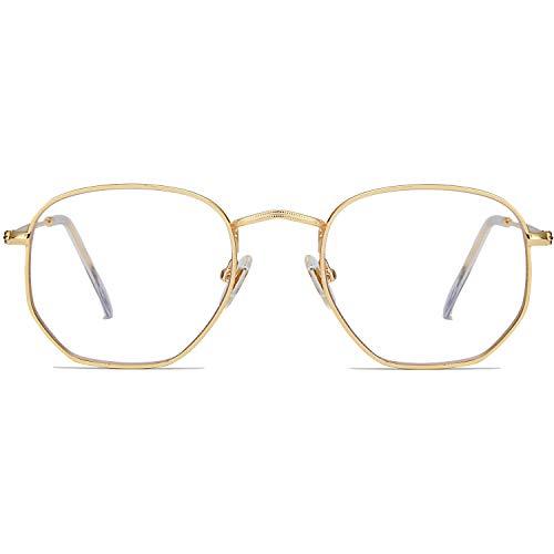 SOJOS Blaulichtfilter Brille Computerbrille Blaulicht Blokierende Brille Polygon Linse SJ5036 Gold