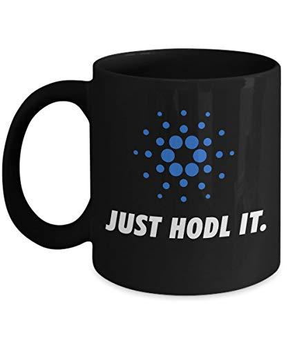 Officiell Cardano-logotyp mugg akryl kaffehållare svart 325 ml kryptovaluta Just HODL Crypto Miner Blockchain Invest Trade Köp Sälj Hold ADA