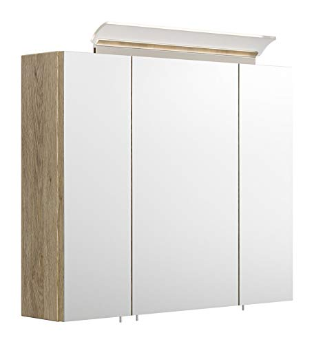 emotion Spiegelschrank 75cm inkl. Design LED-Lampe und Glasböden Eiche hell seidenglanz