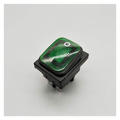 DONGMAISM Interruptor basculante KCD4 20A / 250V 4 Pin DPST IP67 Interruptor de rockero Impermeable Sellado con LED 12V 24V 110V 220V 30x22 (Color : Green, Size : 6 Pin)