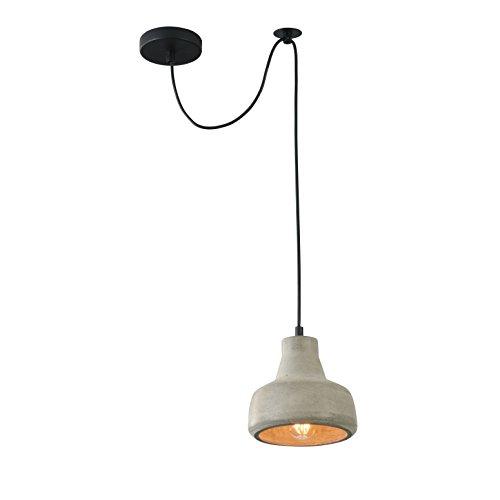 Industriale pendente Lampada a sospensione, design contemporaneo, loft, vintage, altezza regolabile, paralume in cemento grigio, filo lungo 2m, 1 lampadina E27 40W 220-240 non incl