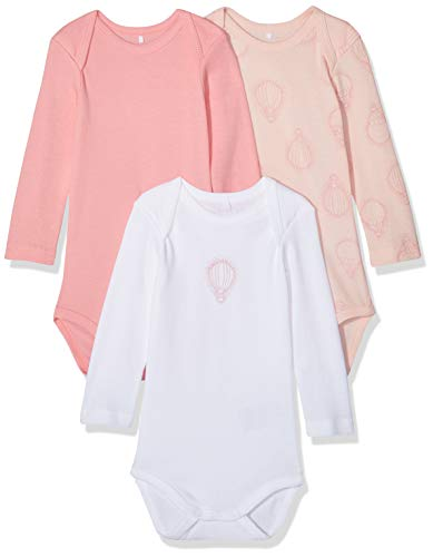 NAME IT NAME IT Baby-Mädchen Strampler NBFBODY 3P LS NOOS, 3er Pack, Mehrfarbig (Strawberry Cream), 92