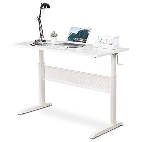 DEVAISE Adjustable Height Standing Desk, 47 inch Sit Stand Up Desk Workstation with Crank Handle for Office Home, White