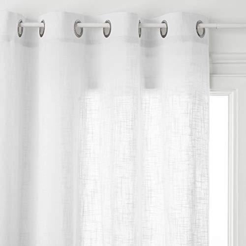 HomeMaison Voilage Léger Esprit Campagne, Coton, Blanc, 240x120 cm