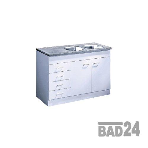 Küche-Spülenschrank/Mehrzweckschrank 120x60 Schubkästen Start Melamin weiß/weiß