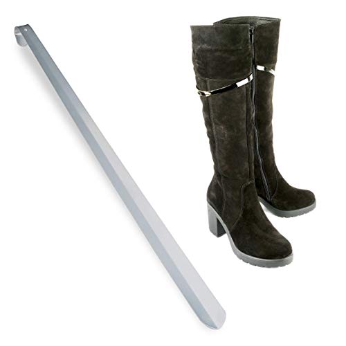 Relaxdays Calzador Largo de Zapatos XL para Colgar, Metal, Plateado, 70 cm