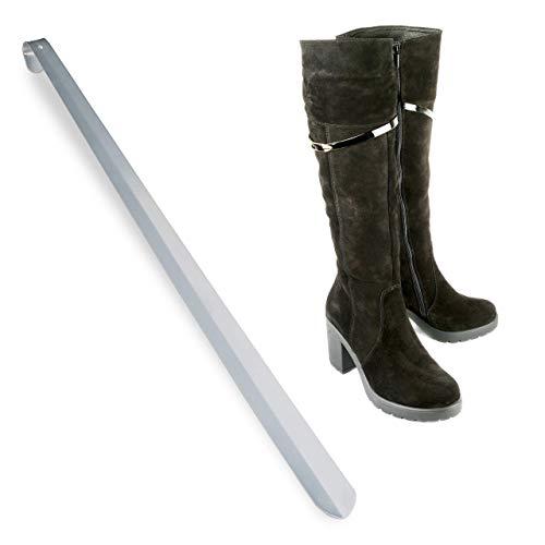 Relaxdays Schuhlöffel, extra großer & Stabiler Schuhanzieher, kein Bücken, zum Aufhängen, Metall, 70 cm, Silber glänzend