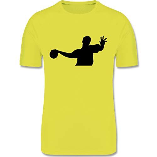 Sport Kind - Handballer Silhouette - 164 (14/15 Jahre) - Neon Gelb - Handball Funktionsshirt Kinder - F350K - atmungsaktives Laufshirt/Funktionsshirt für Mädchen und Jungen