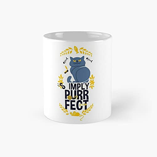 Simply Purrfect Classic Mug - Ceramic Coffee White (11 Ounce) Tea Cup Gifts For Bestie, Mom And Dad, Lover, Lgbt