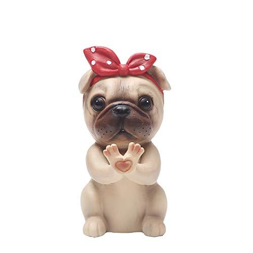 Soporte para anteojos Gafas de sol de escritorio Soporte de exhibición Collar decorativo Animal lindo Resina de oficina Retenedores para el hogar Regalo Perro de perrito de dibujos animados(Pug)