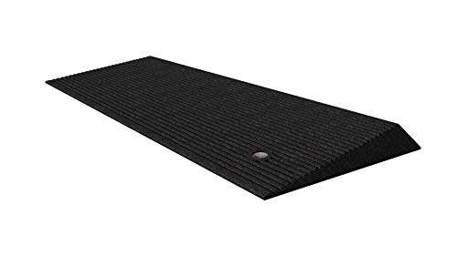 small EZ-ACCESS TRANSITIONS Black Rubber Corner Entrance Mat, 1.5 inch
