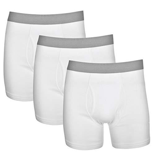Basic Perspective Men's 100% Cotton Tagless 3-Pack Boxer Brief 4.5 Inch Inseam White