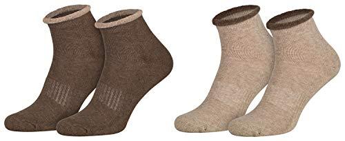 2 Paar ABS Haus-Socken Frauen Damen Bettsocken Halbfrottee Kuschelsocken Anti-Rutsch Sohle Braun Hellbraun 39 40 41 42
