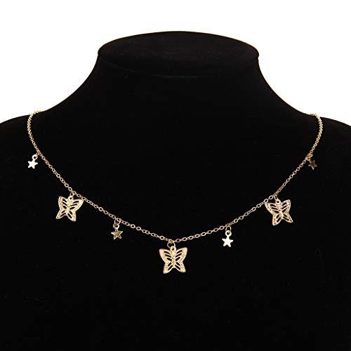 MIKUAF collarElegante Collar de Gargantilla de Mariposa para Mujer, Collar de declaración de Cadena de Plata Dorada, Gargantilla Femenina, Mejor joyería Brillante para Fiesta, Nuevo