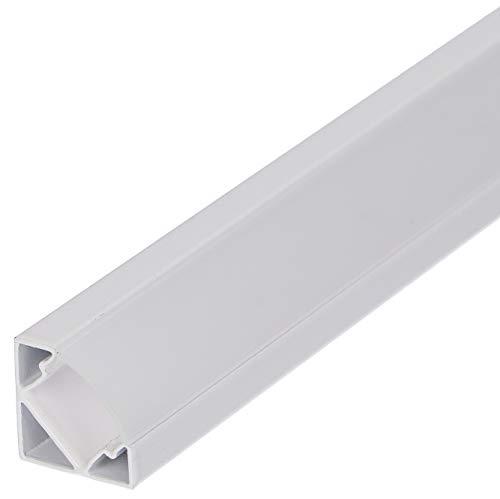 Set: LED Profil, 100cm Profil LED 45° für LED Streifen, Aluminium led Profil LT3 + Abdeckung (Weiss, Milchig)