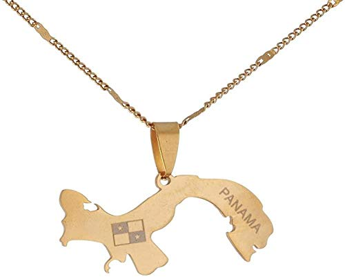 BACKZY MXJP Collar Collares Pendientes De Mapa De Panamá De Acero Inoxidable Mapas De Panamá Regalos De Joyería De Chian
