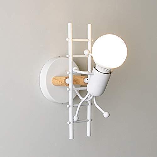 Dongbin Humanoid Kreative Wandleuchte Innen Wandlampe Modern Kerze Wandleuchte Max 60W E27 Basis Eisen Halter für Kinderzimmer, Schlafzimmer (Schwarz),Weiß