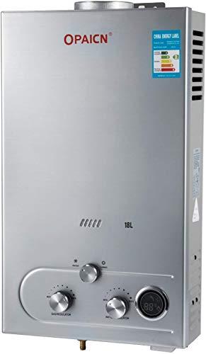 ZGYQGOO Tragbarer Durchlauferhitzer 18L Flüssiggas Propan Durchlauferhitzer Tankless Instant Boiler mit Duschkopf und LCD-Display (18L)